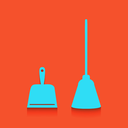 Dustpan vector sign. Scoop for cleaning garbage housework dustpan equipment. Vector. Whitish icon on brick wall as background. Çizim