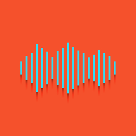 Sound waves icon. Vector. Whitish icon on brick wall as background.