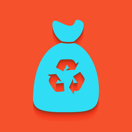 Trash bag icon. Vector. Whitish icon on brick wall as background.