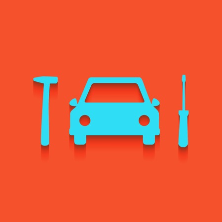 chassis: Car tire repair service sign. Vector. Whitish icon on brick wall as background. Illustration