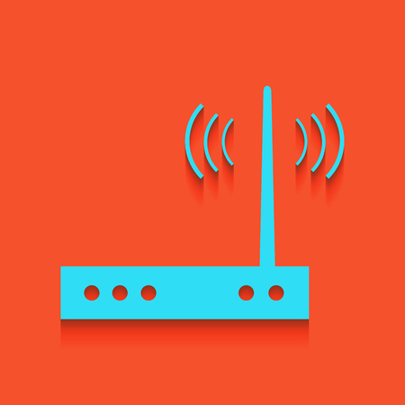 Wifi modem sign. Vector. Whitish icon on brick wall as background. Illustration