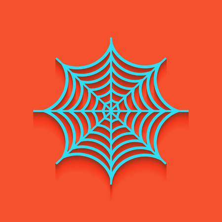 Spider on web illustration. Vector. Whitish icon on brick wall as background.