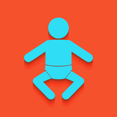 Baby sign illustration. Vector. Whitish icon on brick wall as background.