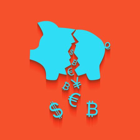 Pig money bank sign. Vector. Whitish icon on brick wall as background.