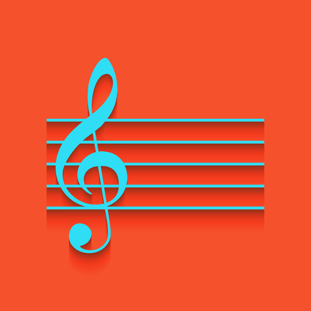 quaver: Music violin clef sign. G-clef. Vector. Whitish icon on brick wall as background. Illustration