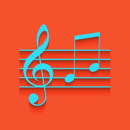 Music violin clef sign. G-clef and notes G, H. Vector. Whitish icon on brick wall as background. Illustration