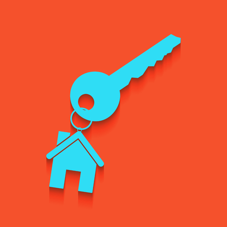 key with keychain as an house sign. Vector. Whitish icon on brick wall as background.
