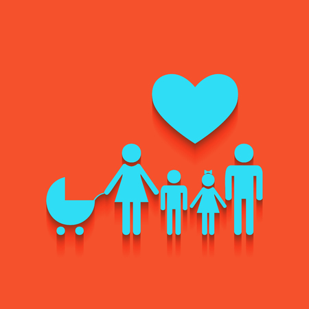 Family sign with heart. Husband and wife are kept childrens hands. Vector. Whitish icon on brick wall as background.