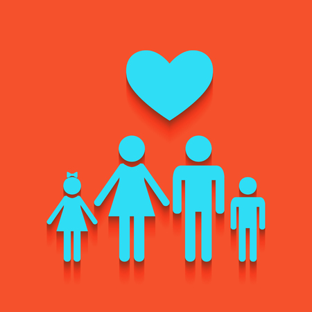Family symbol with heart. Husband and wife are kept childrens hands. Love. Vector. Whitish icon on brick wall as background. Illustration