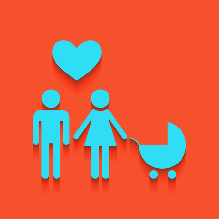 Family symbol with pram and heart. Husband and wife are kept each others hands. Love. Vector. Whitish icon on brick wall as background.