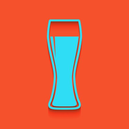 beers: Beer glass sign. Vector. Whitish icon on brick wall as background. Illustration