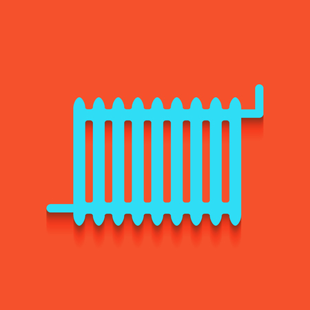 boiler: Radiator sign. Vector. Whitish icon on brick wall as background. Illustration