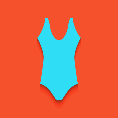 Womans swimsuit sign. Vector. Whitish icon on brick wall as background.