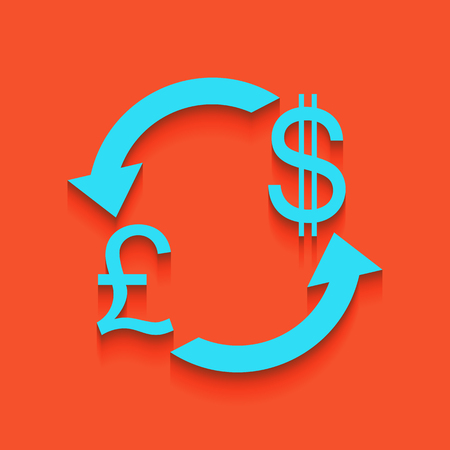 Currency exchange sign. UK: Pound and US Dollar. Vector. Whitish icon on brick wall as background. Illustration