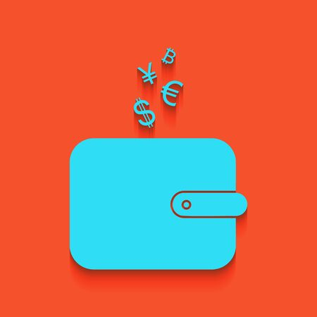 Wallet sign with currency symbols. Vector. Whitish icon on brick wall as background.