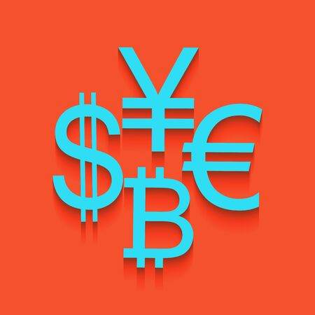 Currency sign collection dollar, euro, bitcoin, yen. Vector. Whitish icon on brick wall as background.