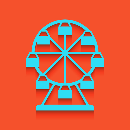 Ferris wheel sign. Vector. Whitish icon on brick wall as background.