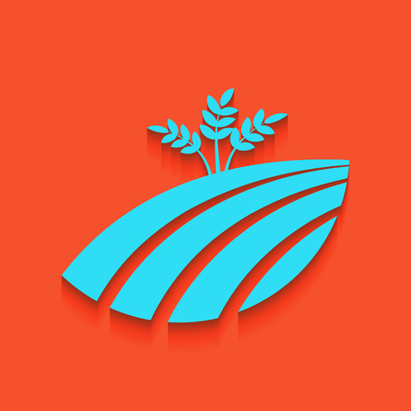 produits céréaliers: Wheat field sign. Vector. Whitish icon on brick wall as background.