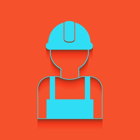 Worker sign. Vector. Whitish icon on brick wall as background.