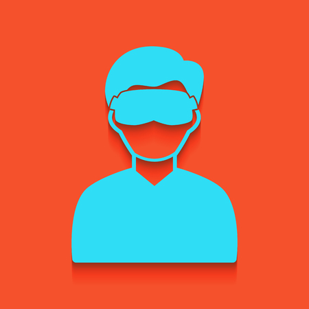 Man with sleeping mask sign. Vector. Whitish icon on brick wall as background. Illustration