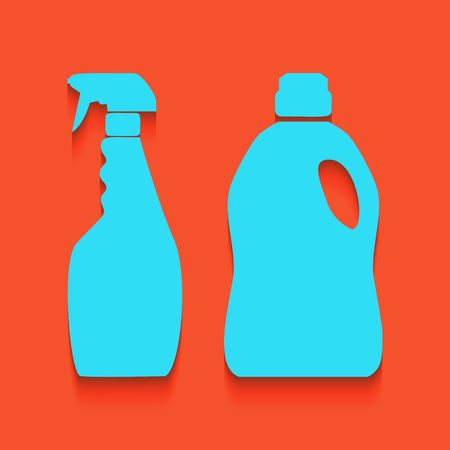 vacuum cleaner worker: Household chemical bottles sign. Vector. Whitish icon on brick wall as background.