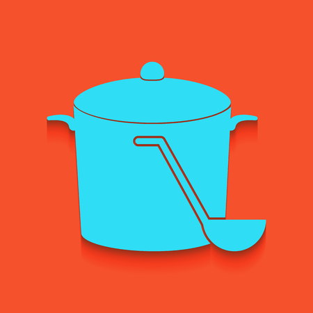 broth: Pan with steam sign. Vector. Whitish icon on brick wall as background.