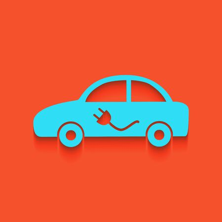 Electric car sign. Vector. Whitish icon on brick wall as background.