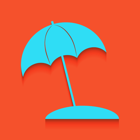 Umbrella and sun lounger sign. Vector. Whitish icon on brick wall as background.
