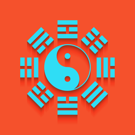 taiji: Yin and yang sign with bagua arrangement. Vector. Whitish icon on brick wall as background.