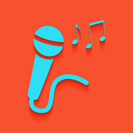 Microphone sign with music notes. Vector. Whitish icon on brick wall as background.