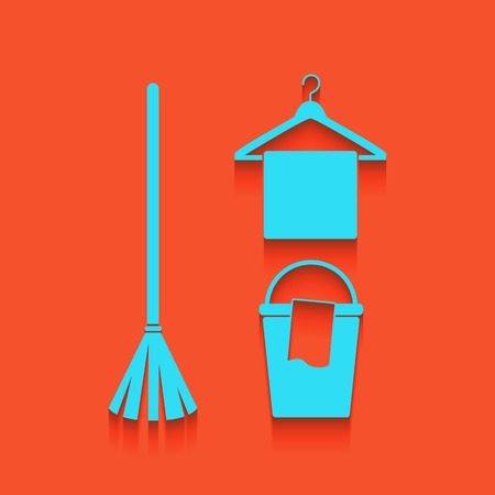 Broom, bucket and hanger sign. Vector. Whitish icon on brick wall as background. Illustration