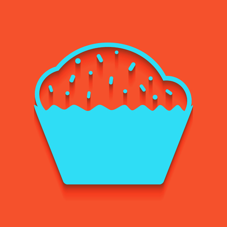 Cupcake sign. Vector. Whitish icon on brick wall as background. Illustration