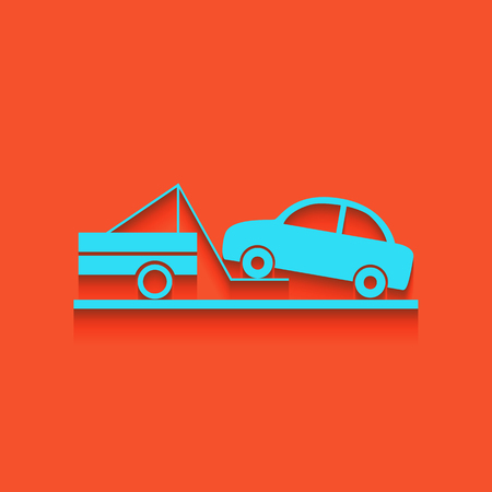 Tow truck sign. Vector. Whitish icon on brick wall as background. Illustration