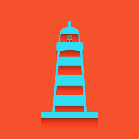 Lighthouse sign illustration. Vector. Whitish icon on brick wall as background. Illustration