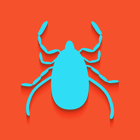 Dust mite sign illustration. Vector. Whitish icon on brick wall as background.