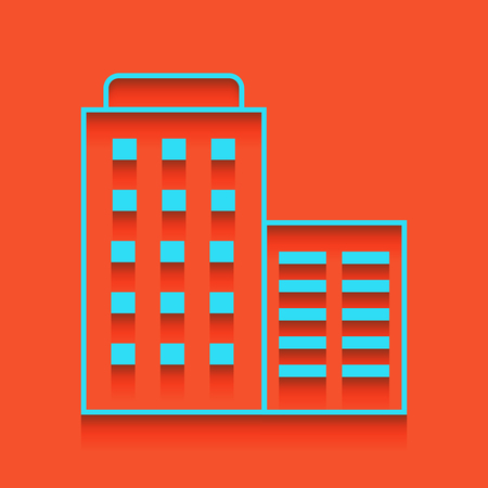 apartment bell: Hotel sign illustration. Vector. Whitish icon on brick wall as background.
