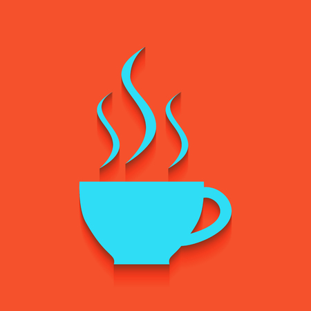 Cup sign with three small streams of smoke. Vector. Whitish icon on brick wall as background.