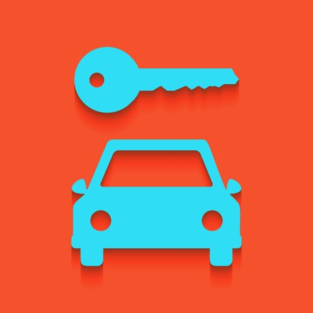 locksmith: Car key simplistic sign. Vector. Whitish icon on brick wall as background. Illustration