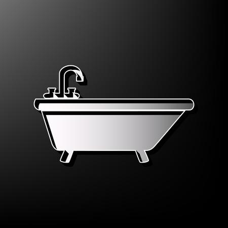 Bathtub sign illustration. Vector. Gray 3d printed icon on black background.