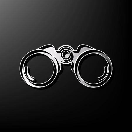 military watch: Binocular sign illustration. Vector. Gray 3d printed icon on black background.