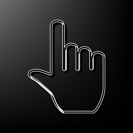Hand sign illustration. Vector. Gray 3d printed icon on black background. Illustration