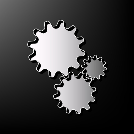 printed machine: Settings sign illustration. Vector. Gray 3d printed icon on black background.