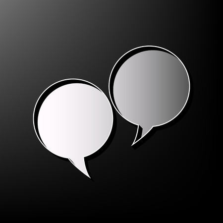 illustrates: Two speech bubble sign. Vector. Gray 3d printed icon on black background.