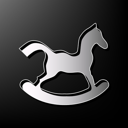 children silhouettes: Horse toy sign. Vector. Gray 3d printed icon on black background.