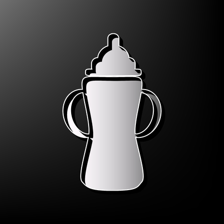 soothers: Baby bottle sign. Vector. Gray 3d printed icon on black background.