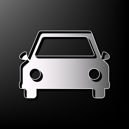 racing sign: Car sign illustration. Vector. Gray 3d printed icon on black background. Illustration