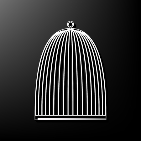 Bird cage sign. Vector. Gray 3d printed icon on black background. Illustration