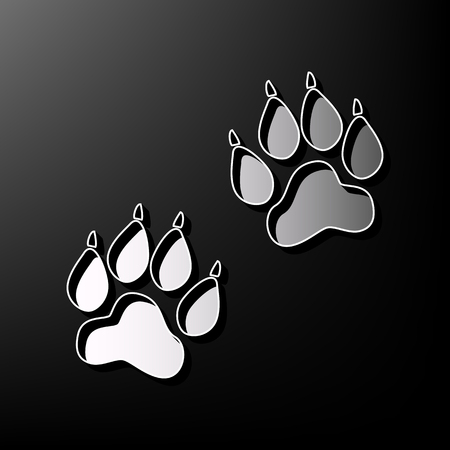 Animal Tracks sign. Vector. Gray 3d printed icon on black background. Illustration