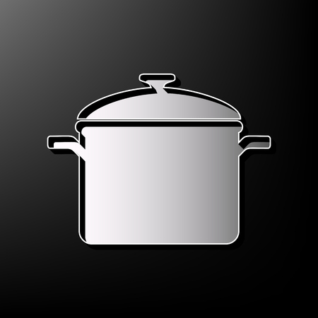 Cooking pan sign. Vector. Gray 3d printed icon on black background.