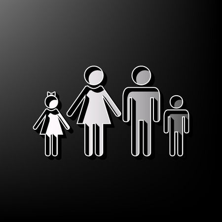 Family sign illustration. Vector. Gray 3d printed icon on black background.